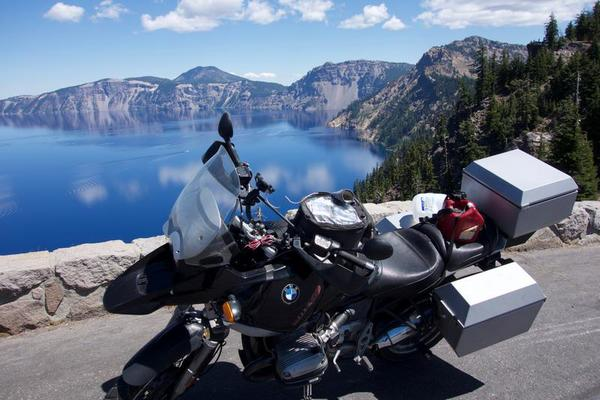 The motorcycle over Crater Lake.