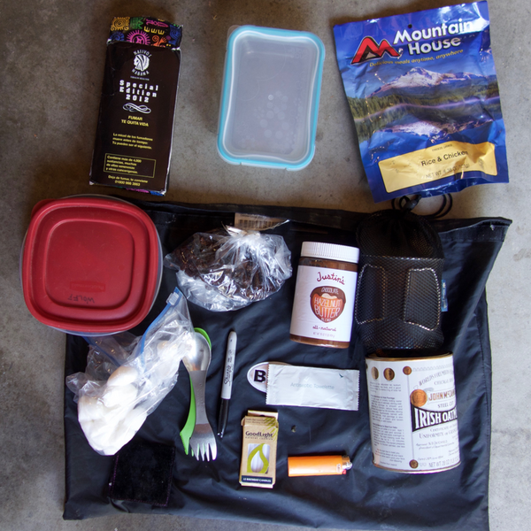 All the items that started in my food bag.