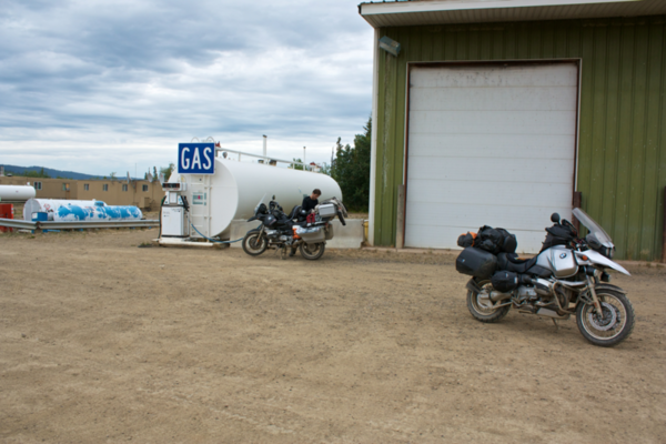 Yukon River Camp - Gasing Up The Motorcycles