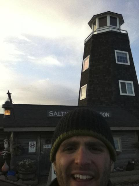 Ouside the Salty Dawg Saloon in Homer