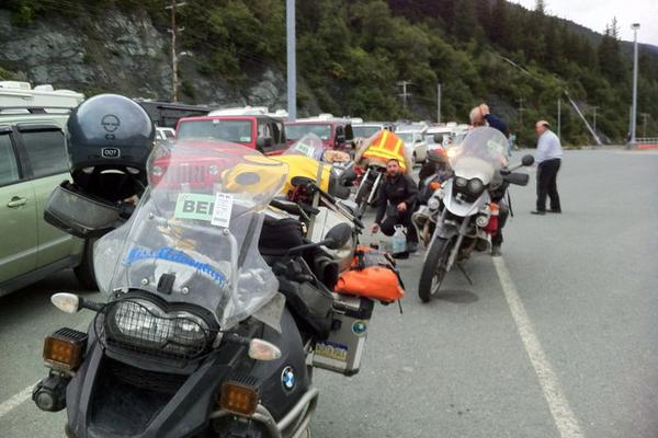 Motorcycle Line for the Alaska Marine Highway Ferry