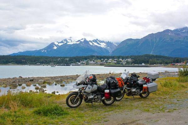 Parked Motorcycles Overlooking Haines Alaska