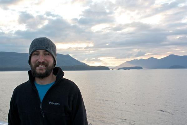 Gregg and the sunset through the clouds -- M/V Columbia Alaska Marine Highway
