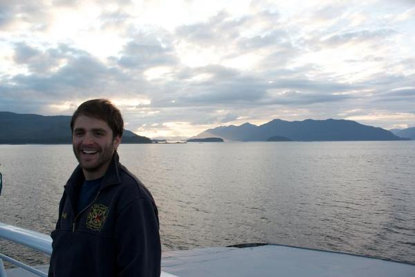 Jared and the sunset through the clouds -- M/V Columbia Alaska Marine Highway
