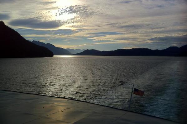 Sunset off the stern of the M/V Columbia -- Alaska Marine Highway